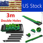 3.0m Pro Golf Ball Return Putting Mat Indoor Turf Trainer With 2Holes USA I4M0