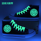 Black High Top canvas Luminous shoelace shoes Ironman reactor printing sneakers