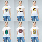 Unisex Yoga Print Fashion T-Shirt Tops Short Sleeve Crew Neck Lover HandCraft