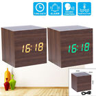 Modern Wooden Wood Digital LED Desk Alarm Clock Thermometer Timer Calendar New