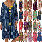 Womens Plus Size Boho Floral Print Mini Dress Baggy Loose Summer Casual Sundress