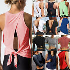 Women Erotic Open Back Yoga Tank Top Backless Activewear Workout Shirt Long Sleeve