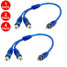 "2x 4x 7"" RCA Audio Cable ""Y"" Adapter Splitter Stereo 1 Male to 2 Female Plug"