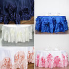 "120"" Large Raised Roses Lamour Satin Round Tablecloth Decoration Wedding Dinner"