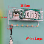 Wall Mounted Shelf Wire Rack Storage Unit With Hooks Basket Key Hanging Hanger
