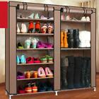 9 Layer Double Shoe Boot Rack Shelf Storage Closet Organizer Shelf  w/ Cover US