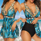 Womens Plus Size Ladies One Piece Swimsuit Skirted Swimwear Swim Dress Costume X