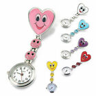 Cute Nurse Heart Smile Medical Fob Pocket Clip-on Analog Brooch Quartz Watch image