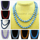 """25"""" 36"""" 50"""" 6/8/10/ 12mm Apatite/Topaz/Agate/Jade/ Gems Round Beads Necklace AAA image"""
