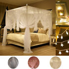 4 Corner Bed Netting Canopy Mosquito Priceness Double Net + LED Light Curtain image