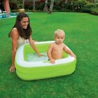 Inflatable Toddler Play Pool Kid Water Splash Baby Bath Square Green Blow Up Tub