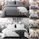 Seersucker Washed Microfiber Bedding Set Solid Color Duvet Cover Set Queen King image