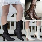 Women Pointed Toe Mid-Calf Leather Booties Steampunk Lace Up High Heel Boots