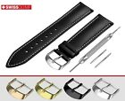 Fits LOUIS ERARD Flat Black Genuine Leather Watch Strap Band For Buckle Clasp