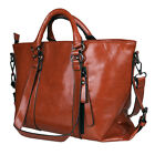 Women's Oiled Leather Handbag Lady Briefcase Tote Purse Shoulder Messenger Bag