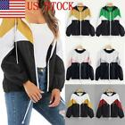 US Women Ladies Colour Block Windbreaker Contrast Festival Hooded Jacket Coat 03