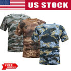 Plus Size Summer Men Women Camouflage Short Sleeve Tops Quick Dry Sports T-Shirt image