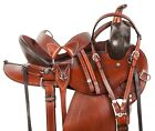 Leather Horse Saddle Western Pleasure Trail Gaited Pro Brown Tack 16 17 in