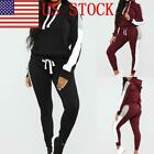US Women's Tracksuit Hooded Sets Sweatsuits Casual Jogging Long Sports Suit 03