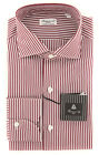 New $425 Finamore Napoli Burgundy Red Striped Shirt - Extra Slim - (2018022322)