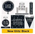 BLACK & SILVER GLITZ - NEW 2019 - ALL AGES Birthday Party Tableware Decorations