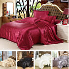 Satin Silk Charmeuse Silk Sheet Bedding Set Queen King Quilt Cover Pillow Case image