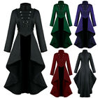 Women Gothic Steampunk Button Corset Halloween Costume Coat Tailcoat Jacket New