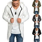 Mens Zip Up Hoodie Sweater Jumper Slim Coat Casual Cardigan Long Jacket Outwear