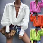 Emmababy Women Lantern Sleeve Shirt Tops V Neck Loose Casual Ethnic Blouse Plus