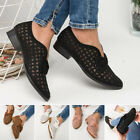 Women's Non Skid Slip On Hollowed Faux Leather Shoes Block Heels Casual Sandals