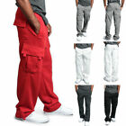 Mens Jogger Heavy Weight Fleece Cargo Pocket Sweat Pants Casual Loose Trousers