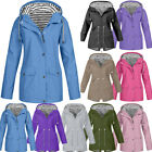 Women Rain Jacket Outdoor Plus Size Waterproof Hooded Windproof Coat New