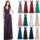 Kate Kasin Sequin Shining V Neck Maxi Evening Dresses Prom Bridesmaid Ball Party