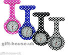 Polka Dot Pattern Nurse Watch Silicone Brooch Tunic Fob watch FREE BATTERY B3