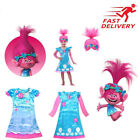 Kids Trolls Costume & Wig Girls Princess Poppy Cosplay Outfit Fancy Party Dress  image