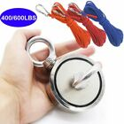 Double-sided Salvage Fishing Magnet Hook 400-600lb Pulling Force Neodymium &rope