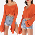 Lady Warm Long Sleeve Short Knit Sweater V-Neck Loose Casual Pullover Short Tops