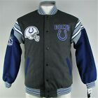 Indianapolis Colts NFL Team Apparel Men's Reversible Gray & Black Varsity Jacket
