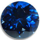 Lab Created Blue Sapphire Round Faceted Loose Gemstones Fine AAA Quality