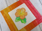 Tropical HIBISCUS Flower Pillow Cover Orange Peach Quilted Watercolor Painted