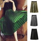 Women Vintage Stretch Waist Flared Pleated Skirt Midi Swings Skirts Fashion Hot