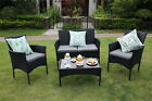 3/4-Piece Outdoor Rattan Garden Furniture Conservatory Small Set Table and Chair