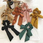 Girls Solid Color Knotted Bow Streamers Hair Ring Scrunchies Ponytail Hair Rope