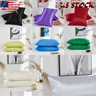 USA Silk Pillow Pure Color Cases Waist Cushion Cover Bedding Sofa Pad Home Gift image