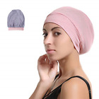 Kyпить Slap Night Cap Sleep Hat Beanie - Pink Women Organic Bamboo Satin Silk Lined for на еВаy.соm