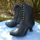 Victorian Mid-Calf Leather Boots Lady Steampunk Cosplay Coatume Rustic Low Heel