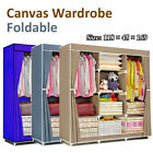 Large Waterproof Fabric Canvas Wardrobe w/Hanging Rails Clothes Storage Cupboard