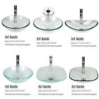 Bathroom Tempered Clear Glass Vessel Sink Single Basin Bowl Faucet Drain Combo $62.99 USD on eBay