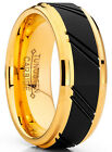Men's  Duo Tungsten Carbide Wedding Band Black and Gold Tone Ring image