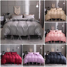 Solid Tie Strap Duvet Cover Comforter Bedding Bed Pillowcase Set Twin Queen King image